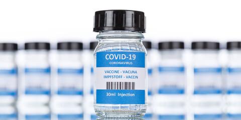 Coronavirus Vaccine bottle Corona Virus COVID-19 Covid vaccines panoramic view