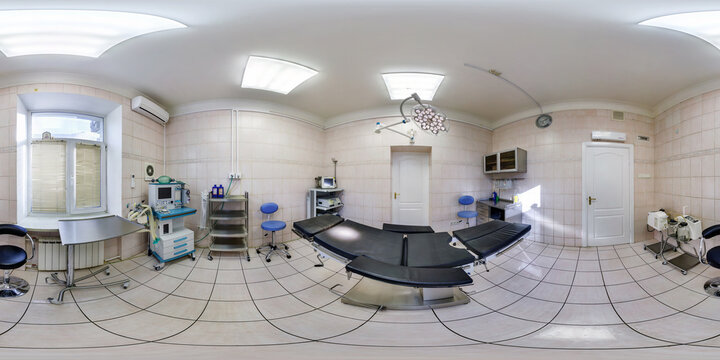 MINSK, BELARUS - APRIL 27, 2016: Panorama in interior operating room in the medical center. Full spherical 360 by 180 degrees seamless panorama in equirectangular equidistant projection. VR content