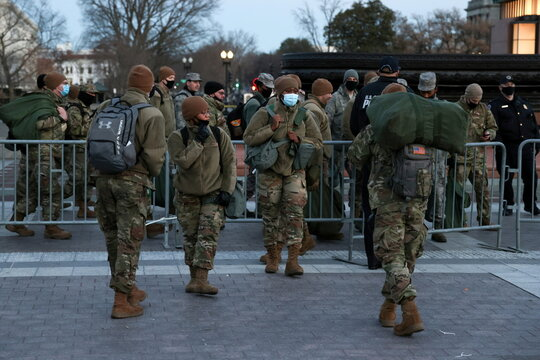 A unit of the D.C. National Guard provides a security presence at the U.S. Capitol in Washington