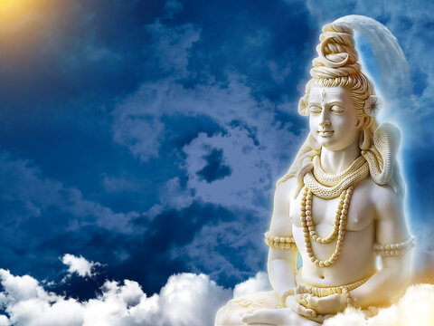 3d Wallpaper Lord Shiv with clouds and Sun Rays, God Mahadev bholenath mural 3D illustration  maha shivaratri  2021 Mahashivratri