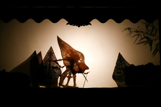 silhouette of wayang kulit or shadow puppet. traditional puppet from indonesia