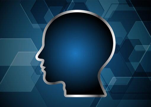 Technology abstract human head hexagonal background