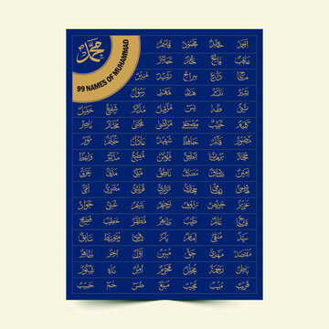 99 Names of Prophet Muhammad calligraphy poster