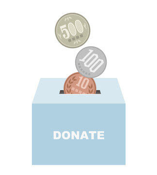 Donation box and Japanese yen coins bank illustration