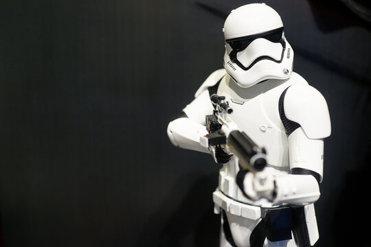 Star Wars Stormtrooper figures on display shelf in Ximending Mall, Taipei. Star Wars is an American epic space opera franchise, film series created by George Lucas. TAIPEI, TAIWAN - JUNE 26, 2018.