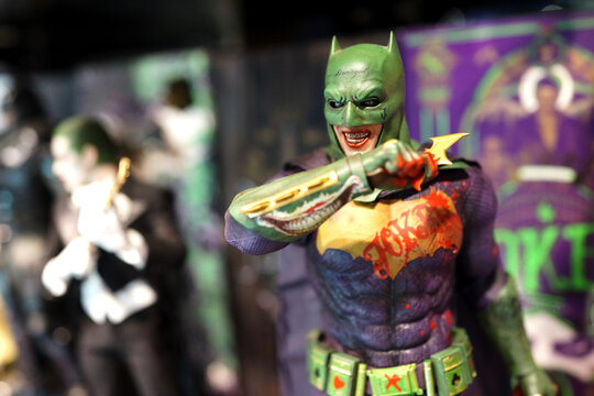 Close up of Joker figures on display shelf in Ximending Mall. Suicide Squad is a 2016 American superhero film based on the DC Comics supervillain team. TAIPEI, TAIWAN - JUNE 26, 2018.