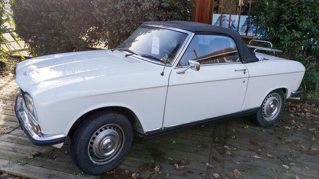 peugeot 304 white convertible vintage retro car of 1970 seventies