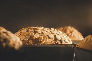 closeup sourdough prune bread baking in oven