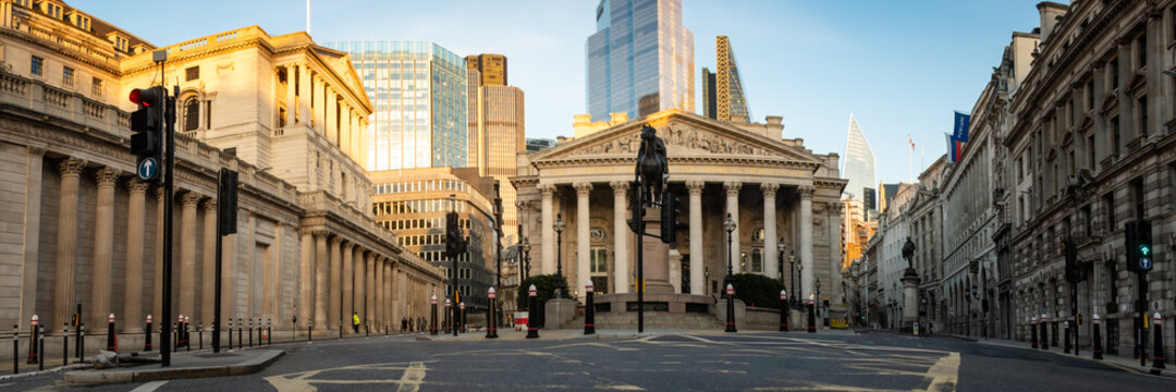 Panoramic view of the Bank of England and the Royal Exchange building in the City of London