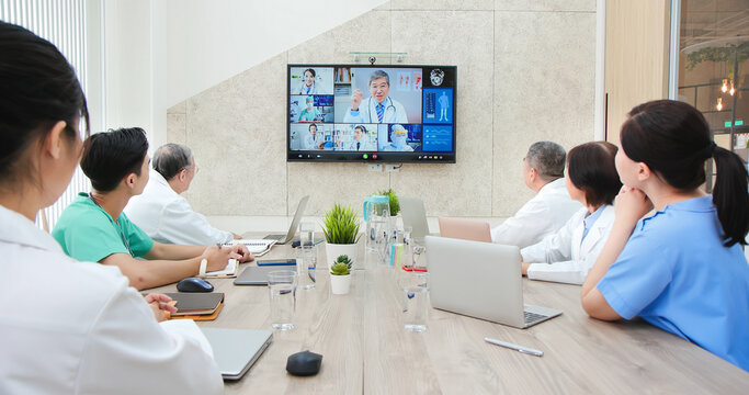 doctors have conference video call