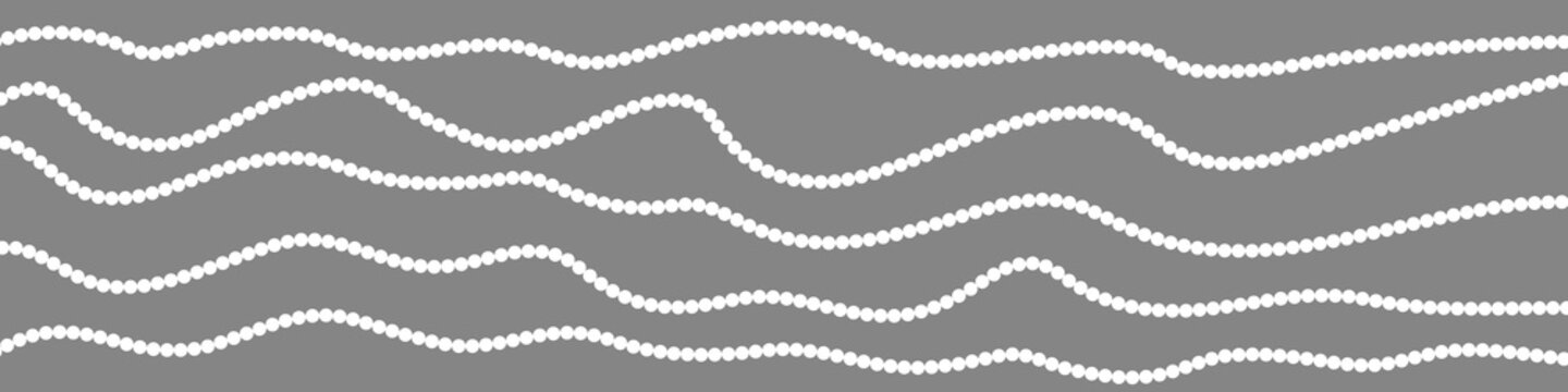 Horizontal border with garlands. White beads on gray background. Vector illustration.