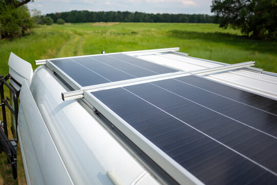 Solar panel on the roof of a camper van
