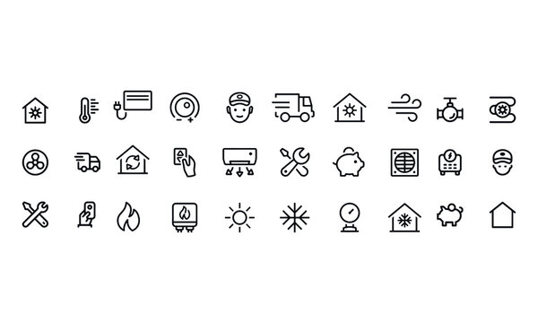Heating and Cooling icons vector design