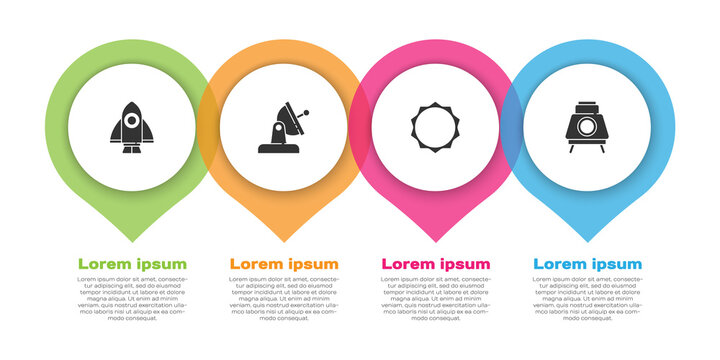Set Rocket ship, Satellite dish, Sun and Mars rover. Business infographic template. Vector.