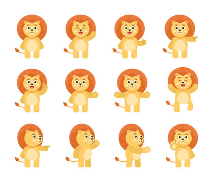 Set of cute lion character showing various gestures, poses. Cartoon lion celebrating, pointing, greeting, showing thumb up and other gestures. Vector illustration