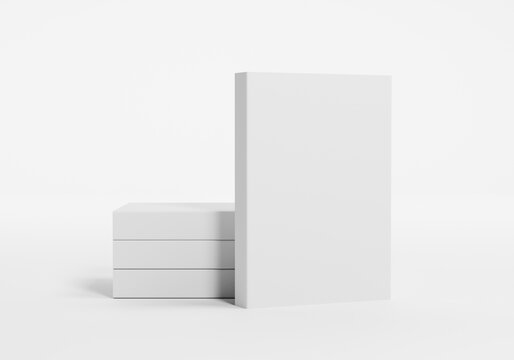 4 softcover books with blank cover isolated. 3d Render