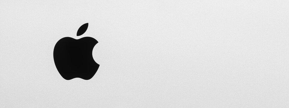 BAYONNE, FRANCE - CIRCA JANUARY 2021: Macro shot of iMac black Apple logo, brushed aluminium texture, high resolution panorama