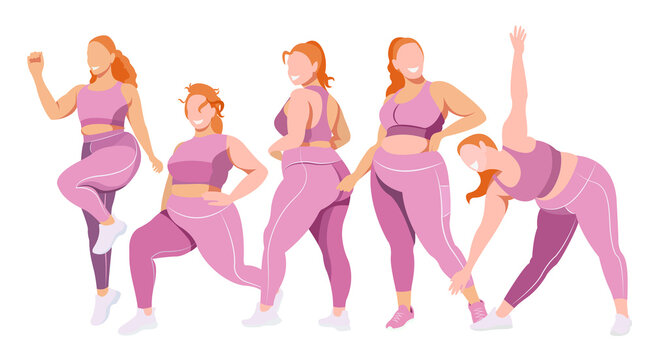 vector flat illustration on the topic of body positivity and physical activity. a group of healthy girls of natural beauty in leggings and sports bras are engaged in fitness. each figure is isolated.