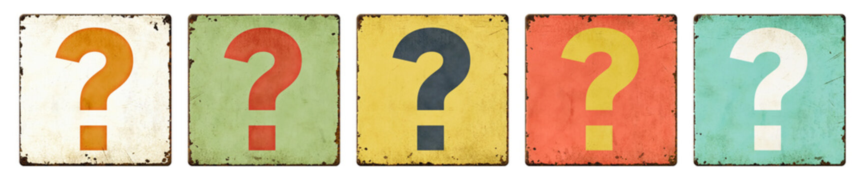 Five vintage tin signs on a white background - Question mark