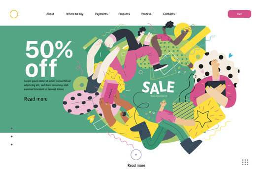 Discounts, sale, promotion vignette - web template - modern flat vector concept illustration of people crowd running in the pursuit of the discounts, with a big percent sign, 50 percents off
