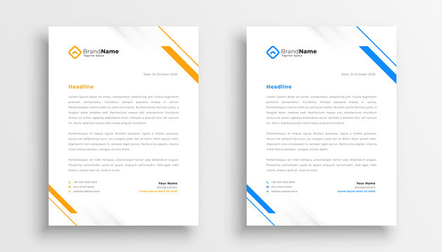 simple business letterhead design set of two