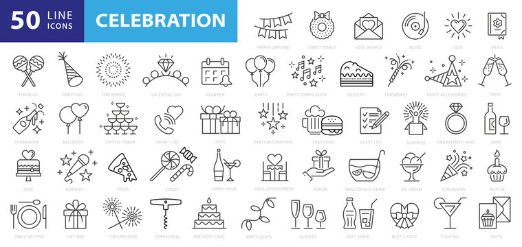 Party line icon set. Included icons as celebrate, celebration, dancing, music, congrats and more