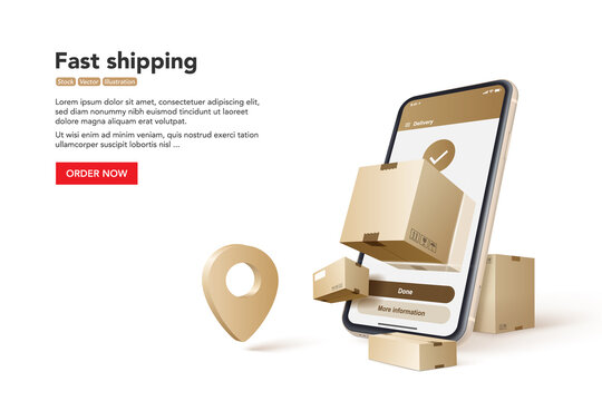 Fast shipping banner with phone and parcels. Concept for fast delivery service. Vector illustration