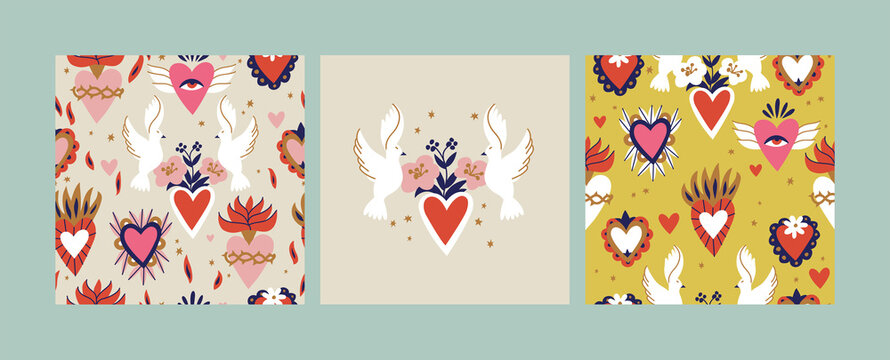 Various Sacred hearts. Traditional Mexican hearts. Hand drawn colored trendy vector illustration. Seamless pattern