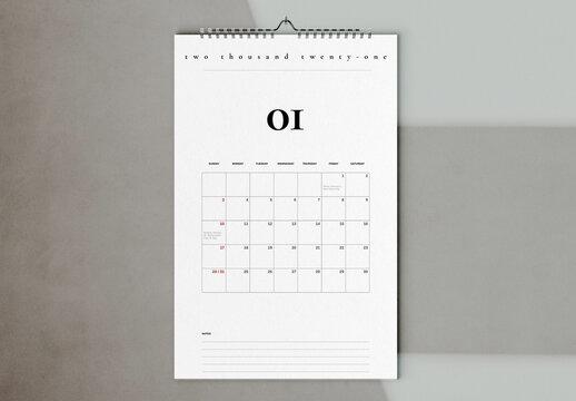 Grid 2021 Wall Calendar Layout