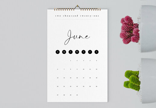 Minimal 2021 Wall Calendar Layout
