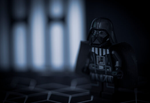 NEW YORK USA - JAN 7 2021: Lego style minfig of Sith Lord Darth Vader - generic branded mini figure