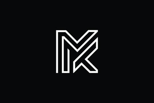 MK logo letter design on luxury background. KM logo monogram initials letter concept. MK icon logo design. KM elegant and Professional letter icon design on black background. M K MK KM