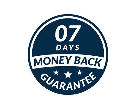 7 day money back guarantee label. 7 Days Money Back Guarantee Icon