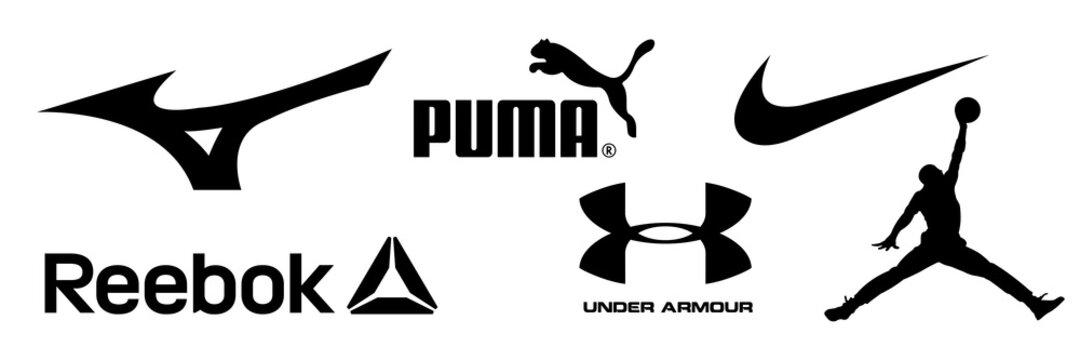 Mizuno, Reebok, Nike, Jordan, Adidas, Puma, Under Armour - logos of sports equipment and sportswear company. Kyiv, Ukraine - January 9, 2021