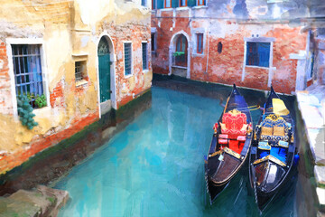 Venice. Italy. Canals and gondolas. Artwork in paiting style