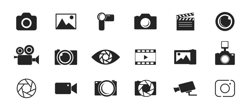 Photo and video icon set. Icons of photography, image, photo gallery, video camera and photo camera. Diaphragm icon. image, photo gallery Vector illustration.