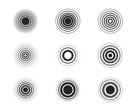 Set of sonar waves. Pain circles. Black rings. Radar icons. Symbols for your design. Vector illustration.