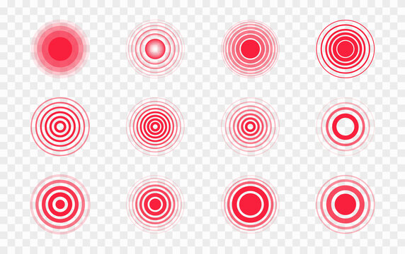 Pain red circles. Pain localization sign and pain pointings. Red rings. Sonar waves. Set of radar icons. Symbols for medical design. Vector illustration.