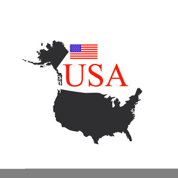 USA Solid Black Detailed Map Vector With American Flag