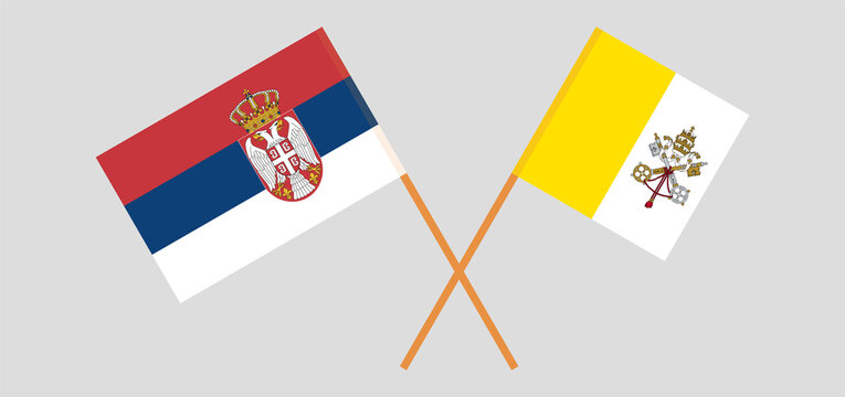 Crossed flags of Serbia and Vatican