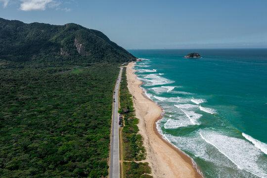 Kiosk at Praia da Barra da Tijuca, Recreio and Grumari in Rio de Janeiro, Brazil. Aerial View from Drone; Amazon rainforest in Rio