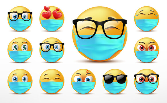 Smiling faces emoticon character set, Facial expressions of cute yellow faces covered in medical mask. 3D realistic vector illustration