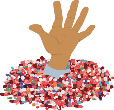 Men hand sticking out of a pile of prescription pills as a metaphor for drug use and opioid abuse epidemic, EPS 8 vector illustration