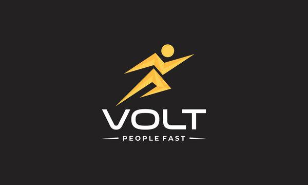 volt lightning bolt people fast logo design template