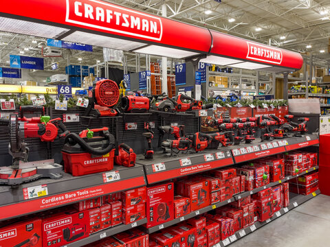 PORT CHARLOTTE, FLORIDA - January 08, 2021 : Craftsman Tools power tool retail display at Lowe's home improvement store.