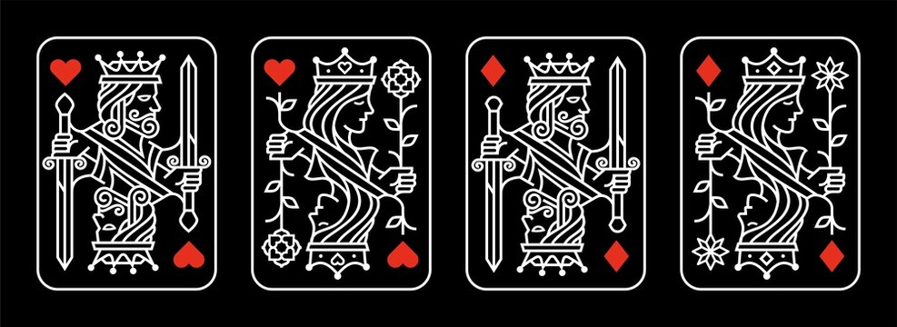 white red King and queen playing card vector illustration set of hearts and diamonds Royal card design collection on black background