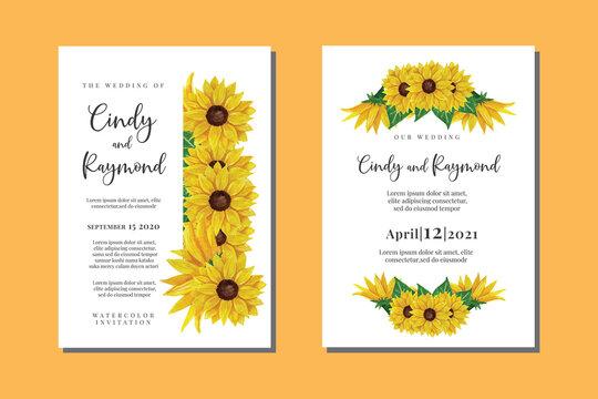 Wedding Invitation Sun Flower Design, Hand drawn Vector Watercolor style