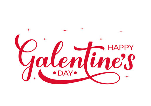 Happy Galentine s Day calligraphy lettering isolated on white. Non official holiday for girls. Vector template for greeting card poster, postcard, flyer, banner, sticker, t shirt, etc