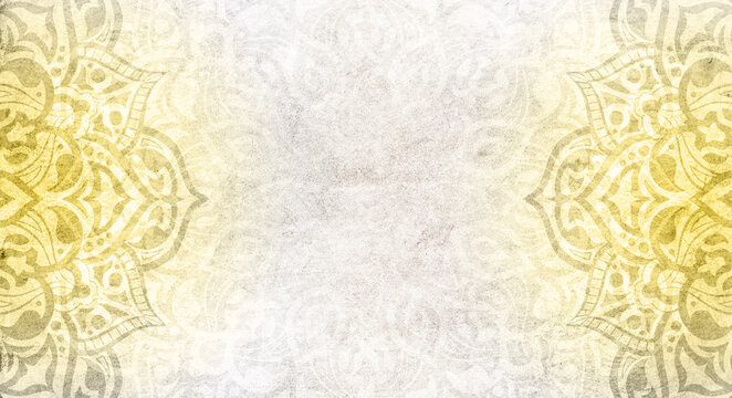 Light grey background with yellow mandalas - colors of the year 2021
