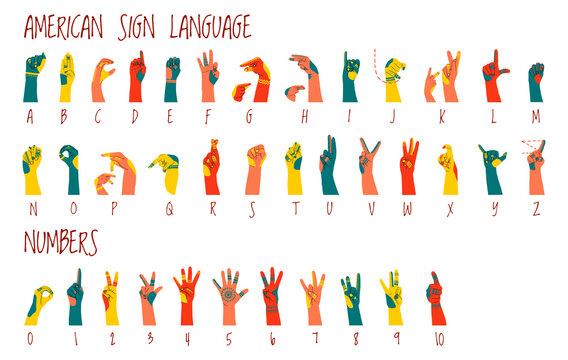 American sign language alphabet and numbers horizontal poster with ornament on hands. Different skin colors vector illustration for ASL education poster, card, brochure, canvas, website, books